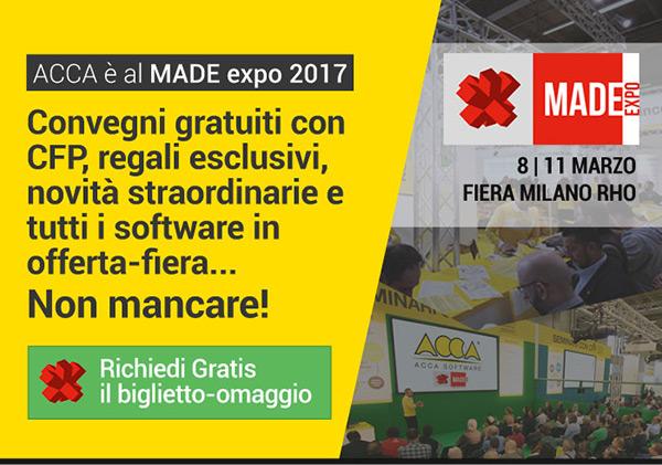ACCA è al MADE expo 2017 - Richiedi gratis il biglietto-omaggio