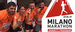 Locandina Milano Marathon 2019 con EMERGENCY