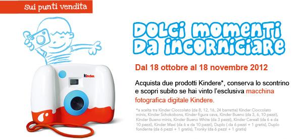 """Concorso Kinder """"Dolci Momenti da Incorniciare"""" – Vinci una macchina fotografica digitale!"""